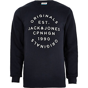 Jack & Jones Originals navy print sweatshirt