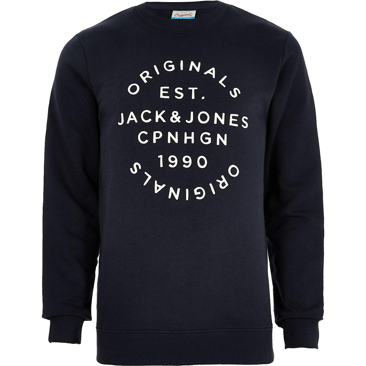 Jack & Jones Originals navy print sweatshirt