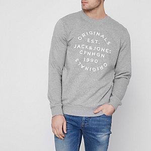 Grey Jack & Jones Originals print sweatshirt