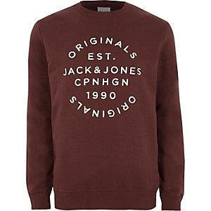 Dark red Jack & Jones print sweatshirt