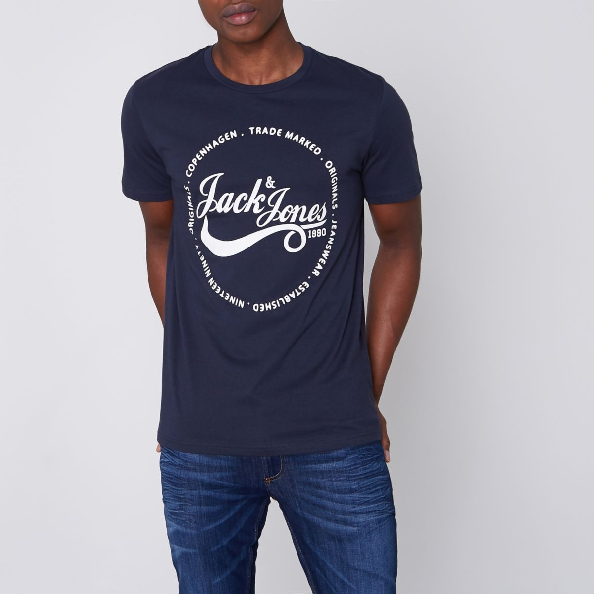 Navy Jack & Jones Originals print T-shirt