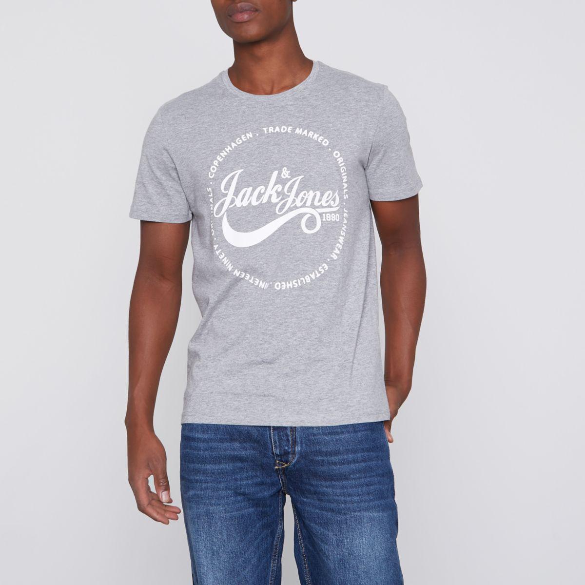Grey marl Jack & Jones Originals T-shirt