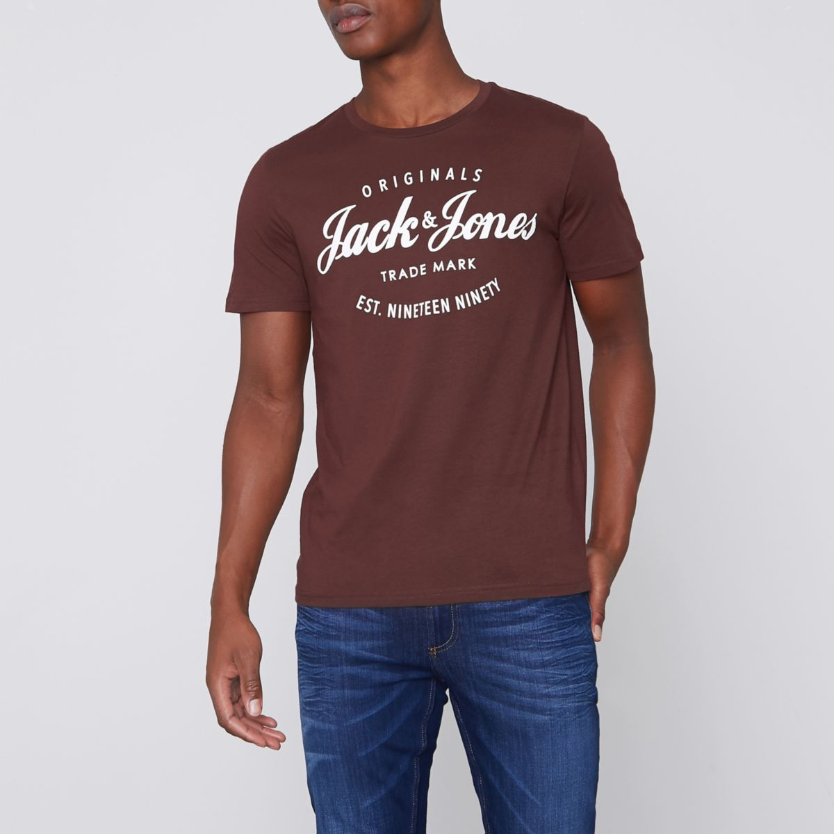 Dark red Jack & Jones Originals print T-shirt