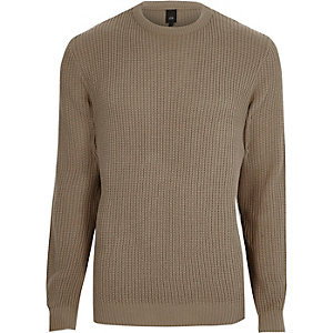 Camel crew neck fisherman sweater