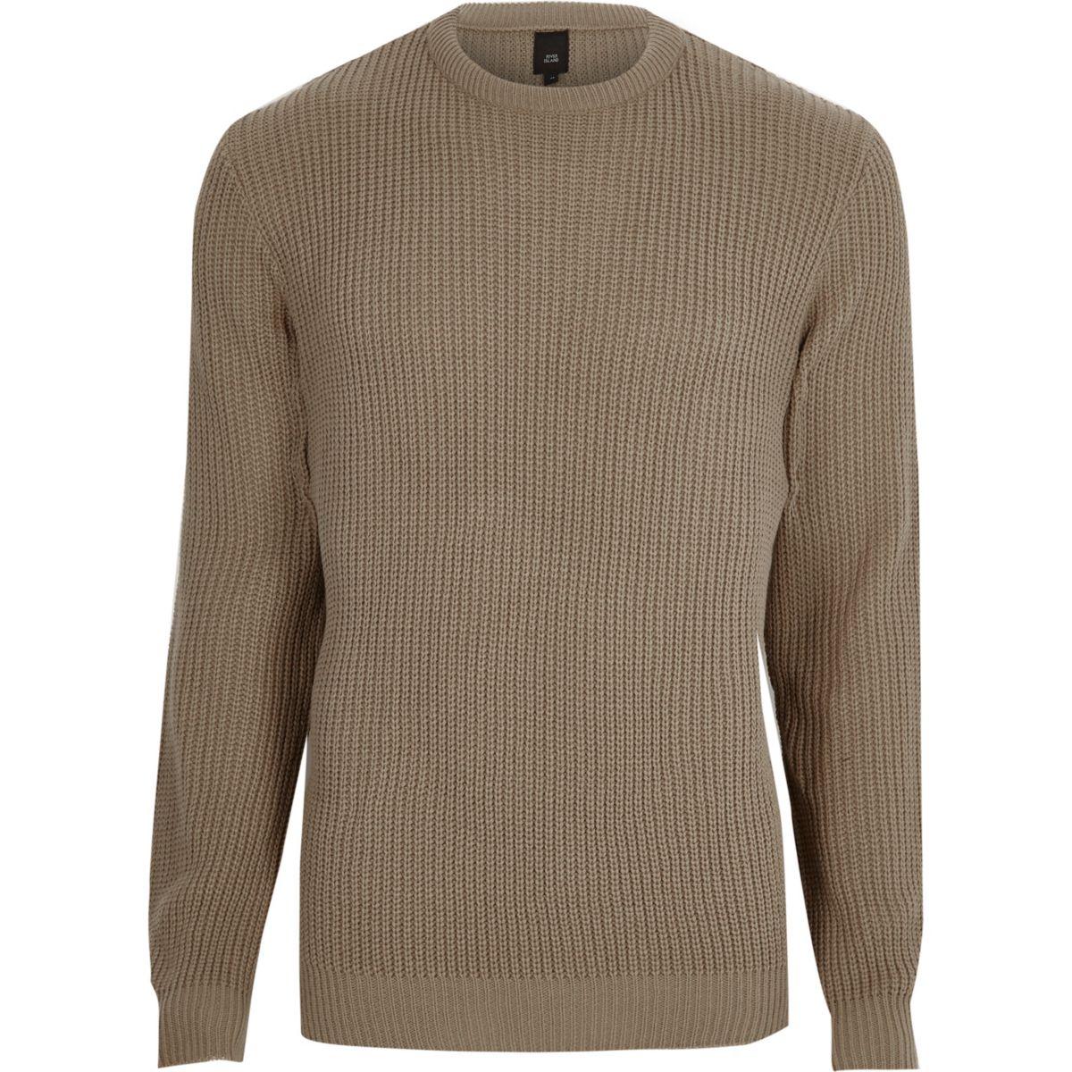 Camel crew neck fisherman sweater