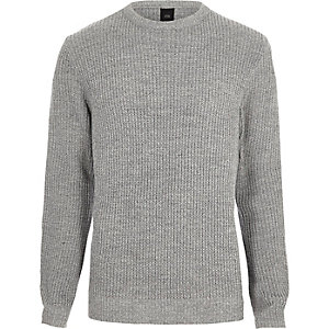 Light grey crew neck fisherman jumper