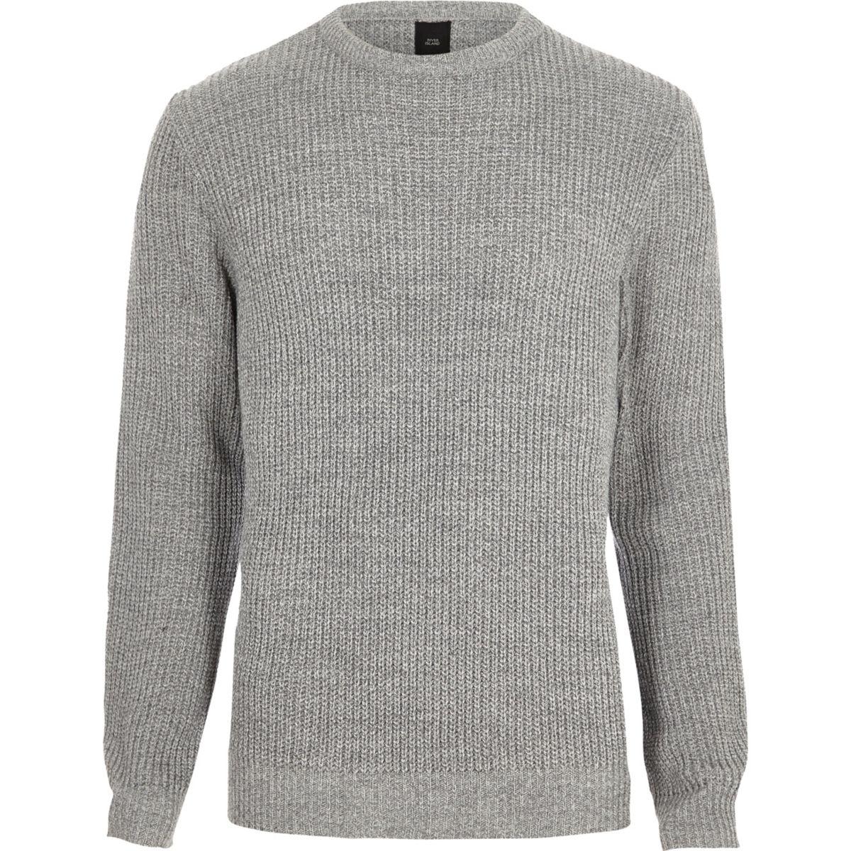 Light grey crew neck fisherman sweater