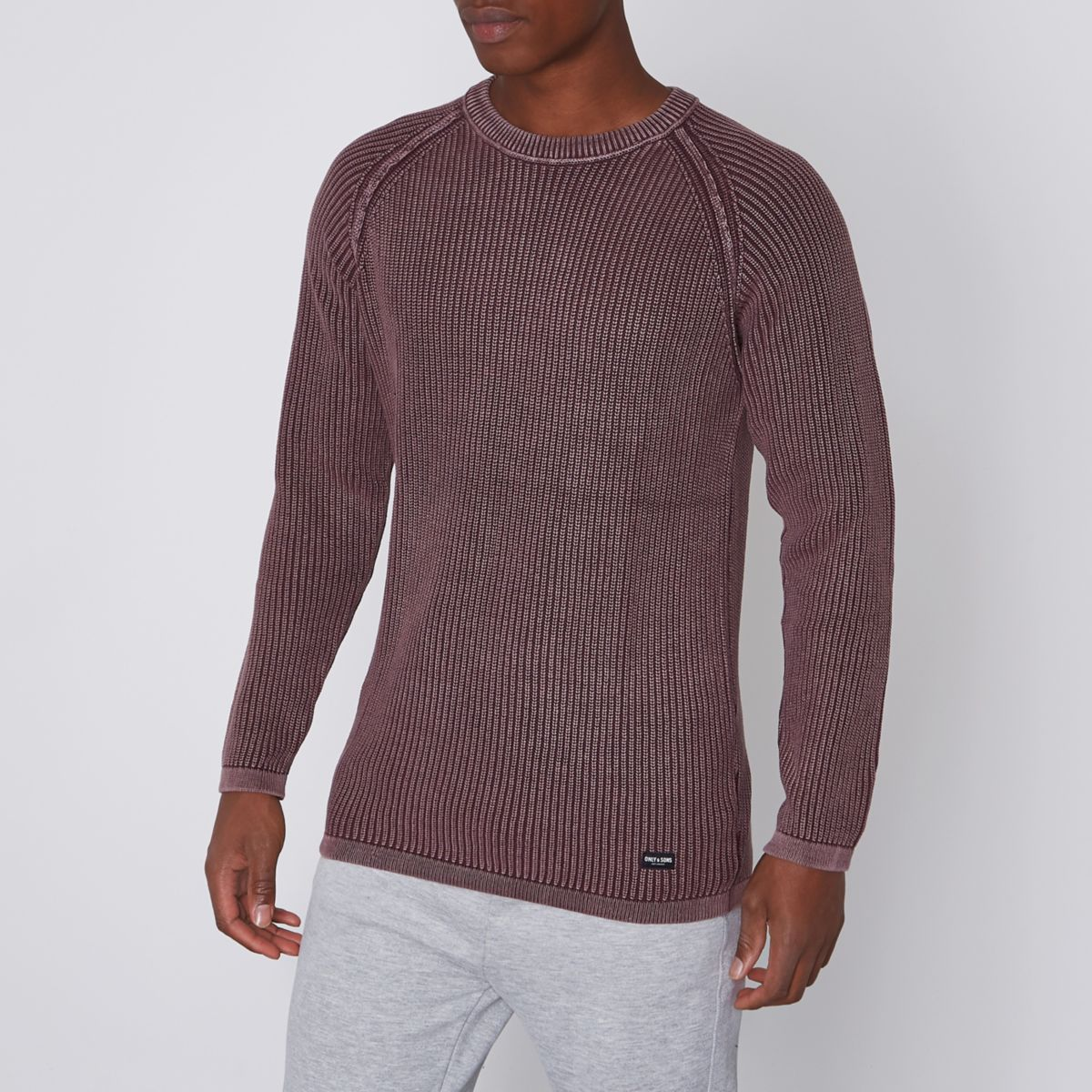 Only & Sons dark red washed ribbed sweater
