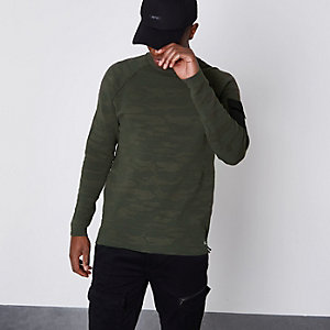 Only & Sons khaki green textured camo sweater