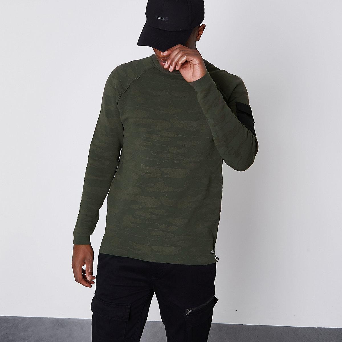 Only & Sons khaki green textured camo jumper