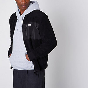 Jack & Jones black fleece zip-up jacket