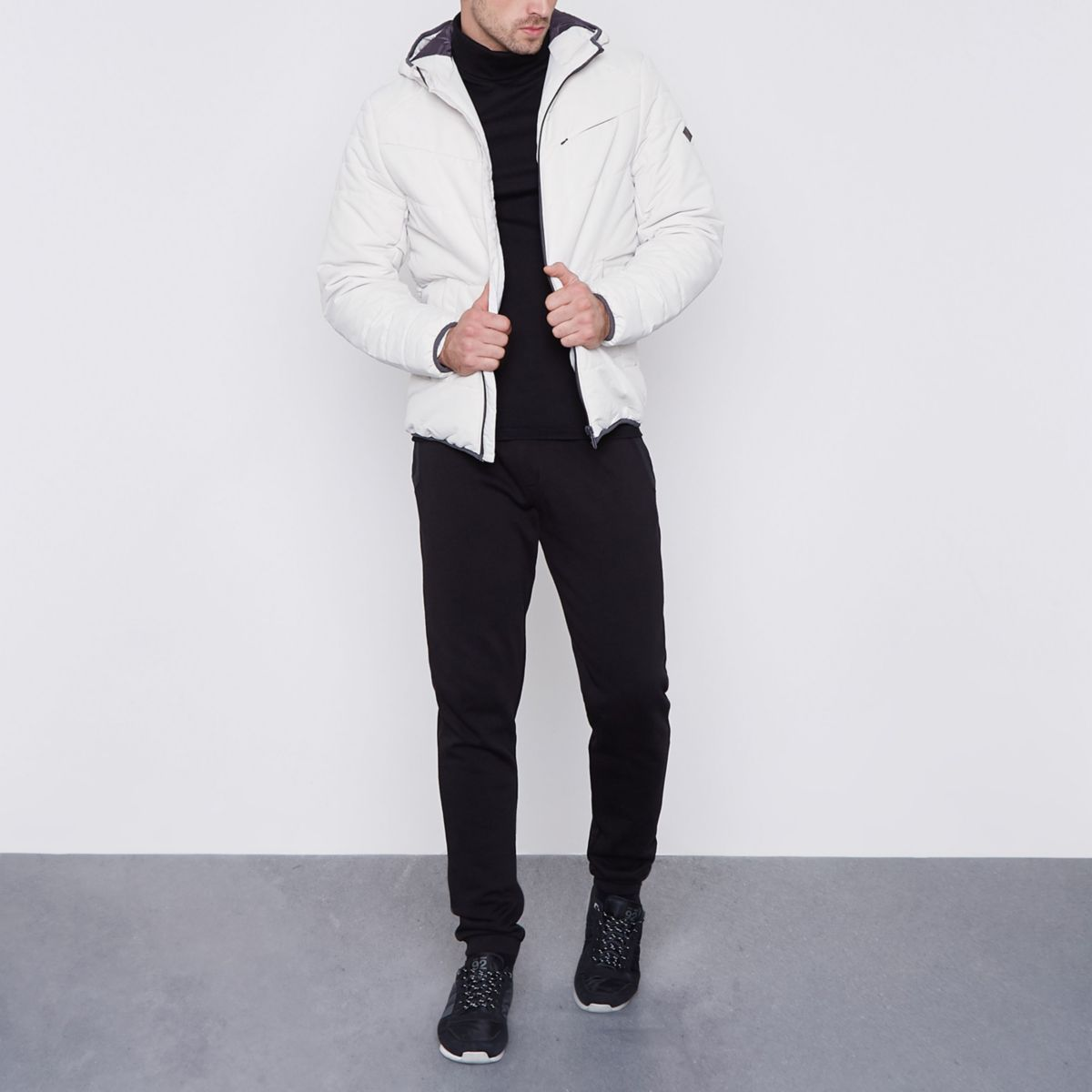 Only & Sons cream hooded puffer jacket