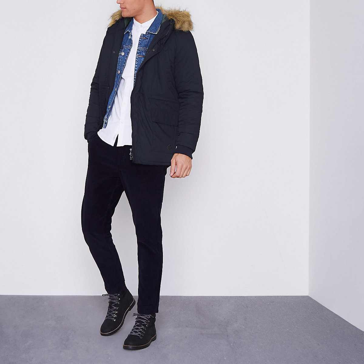Only & Sons navy faux fur trim parka