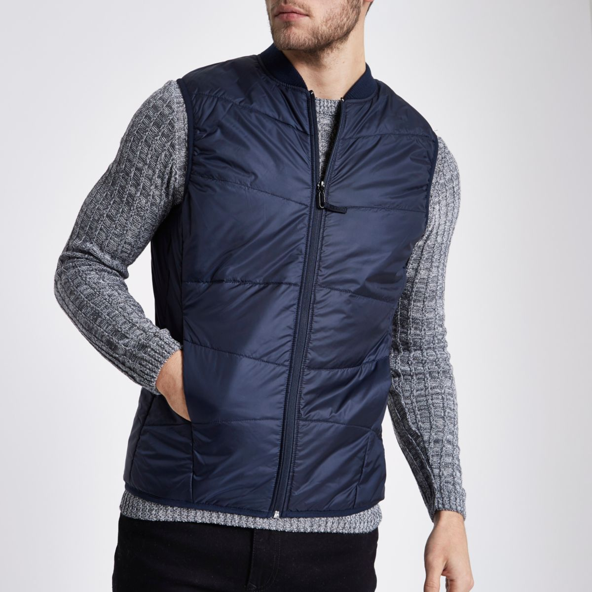 Navy Only & Sons puffer gilet