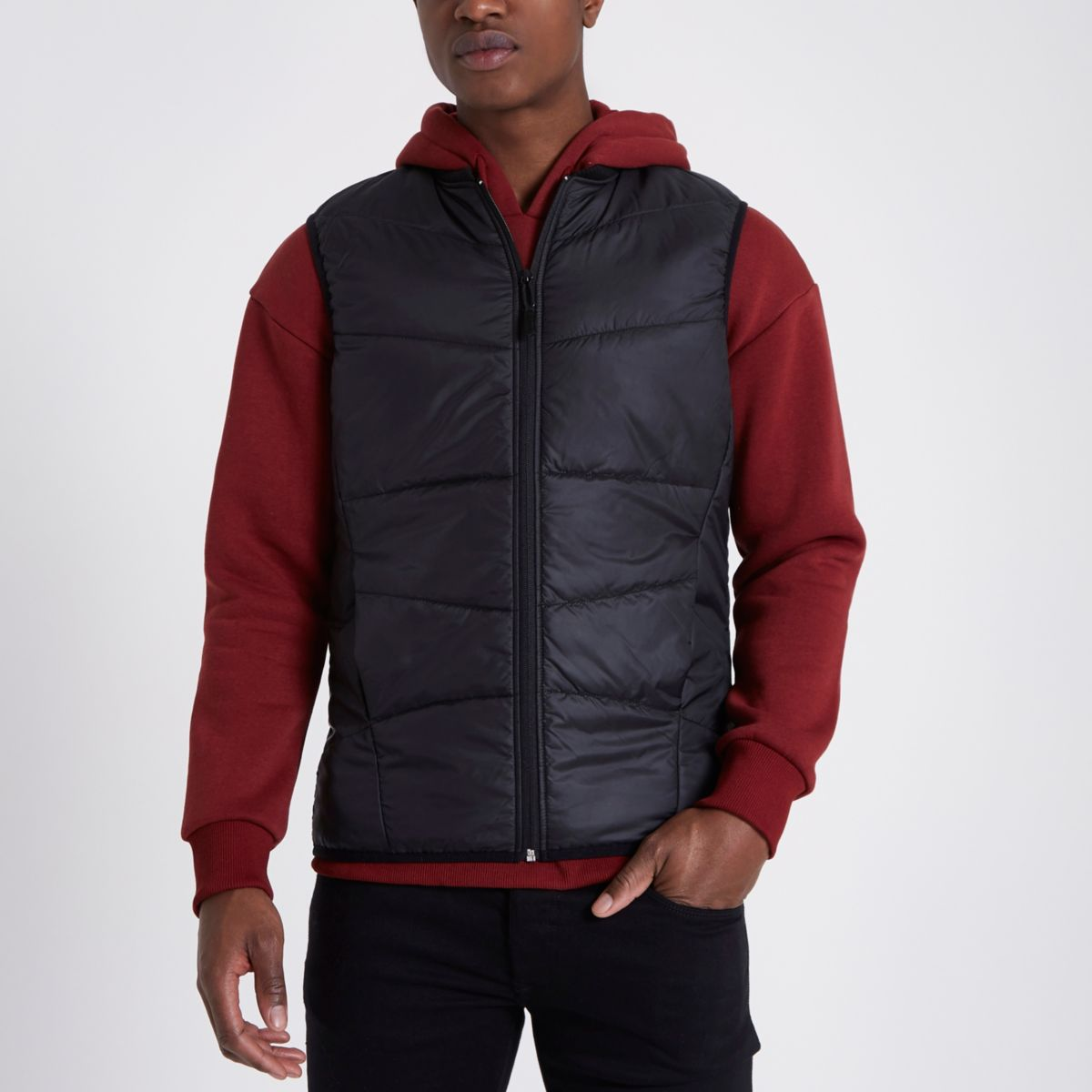 Only & Sons black padded gilet