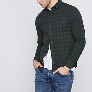Only & Sons - Donkergroen geruit slim-fit overhemd