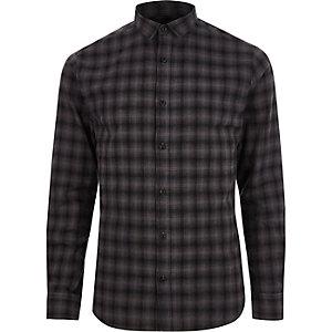 Only & Sons–Chemise slim à carreaux grise