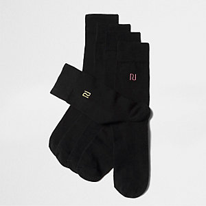 Black multicolour 'RI' embroidered socks pack