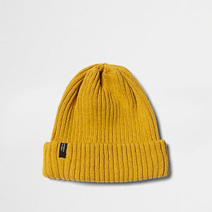 Mustard ribbed knit beanie hat