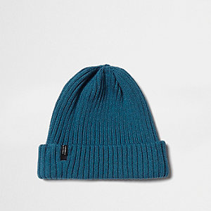 Teal blue ribbed knit beanie hat