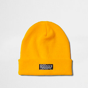 Yellow knit beanie hat