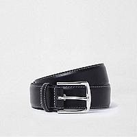 Black leather buckle belt