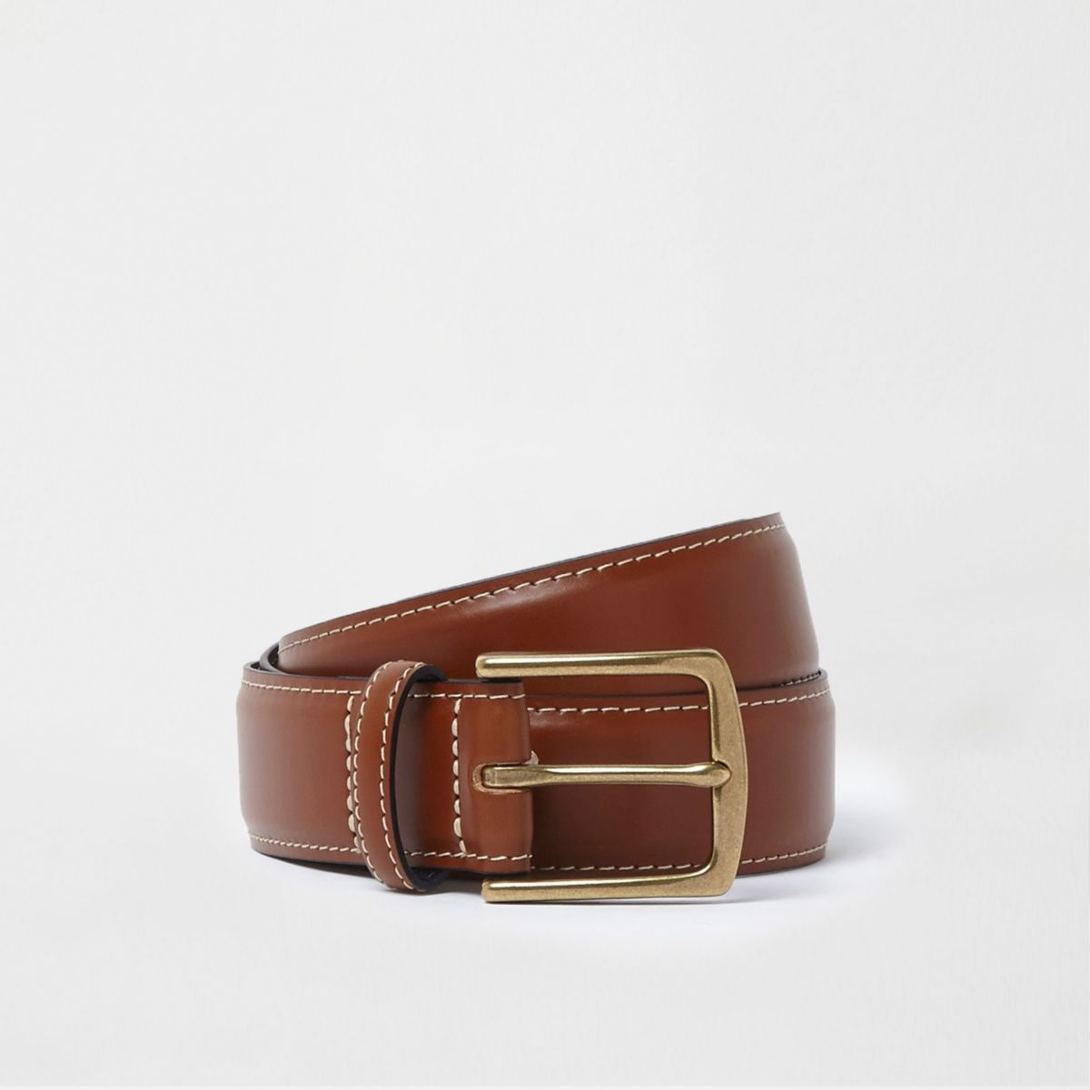 Tan brown leather buckle belt
