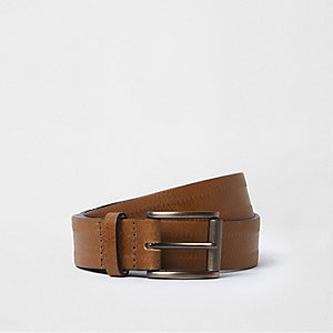 Brown leather square buckle belt
