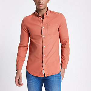 Orange long sleeve button-down shirt