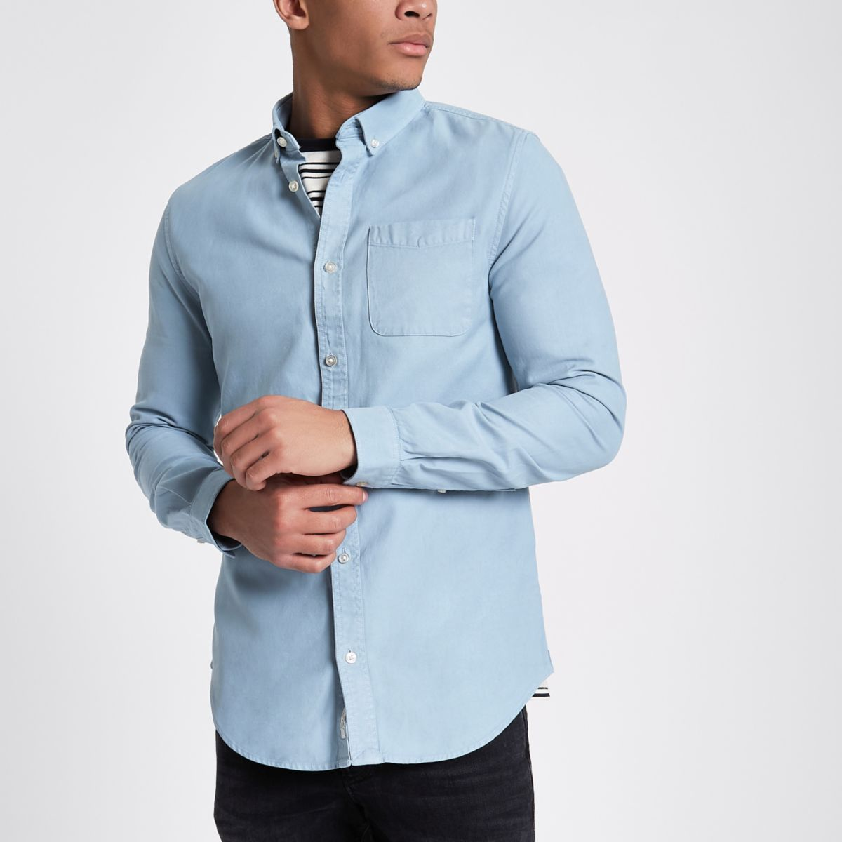 Light blue slim fit  denim shirt