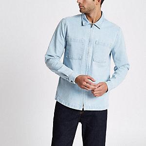 Veste chemise en denim bleu clair zippée