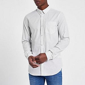 Grijs slim-fit overhemd met ginghamruit en lange mouwen