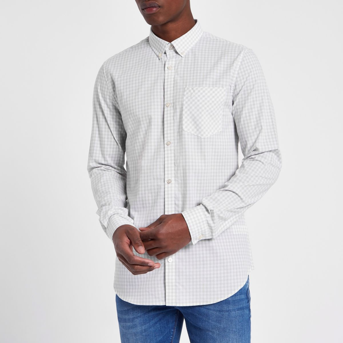 Grey gingham check slim fit long sleeve shirt