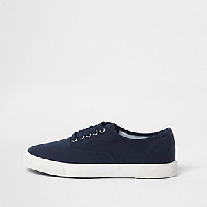 Navy contrast sole lace-up plimsolls