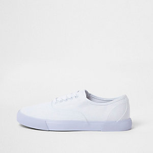 White lace-up plimsolls