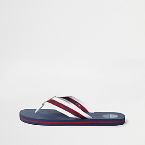Marineblauwe gestreepte canvas slippers