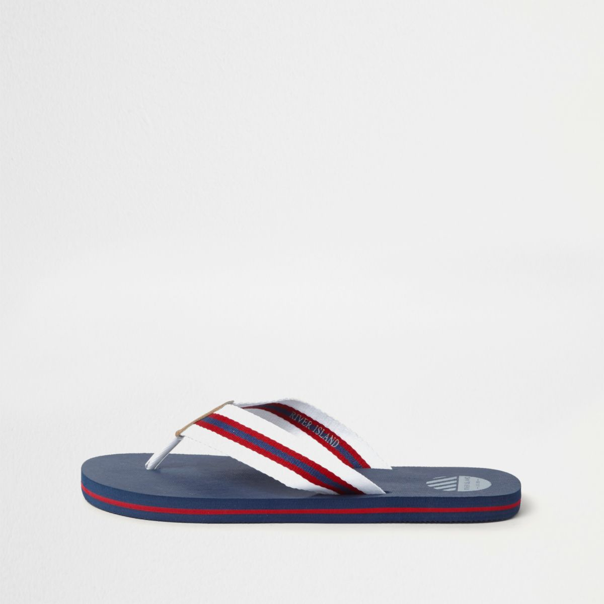 Navy stripe canvas flip flops