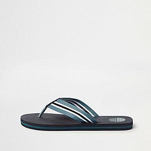 Zwarte gestreepte canvas slippers