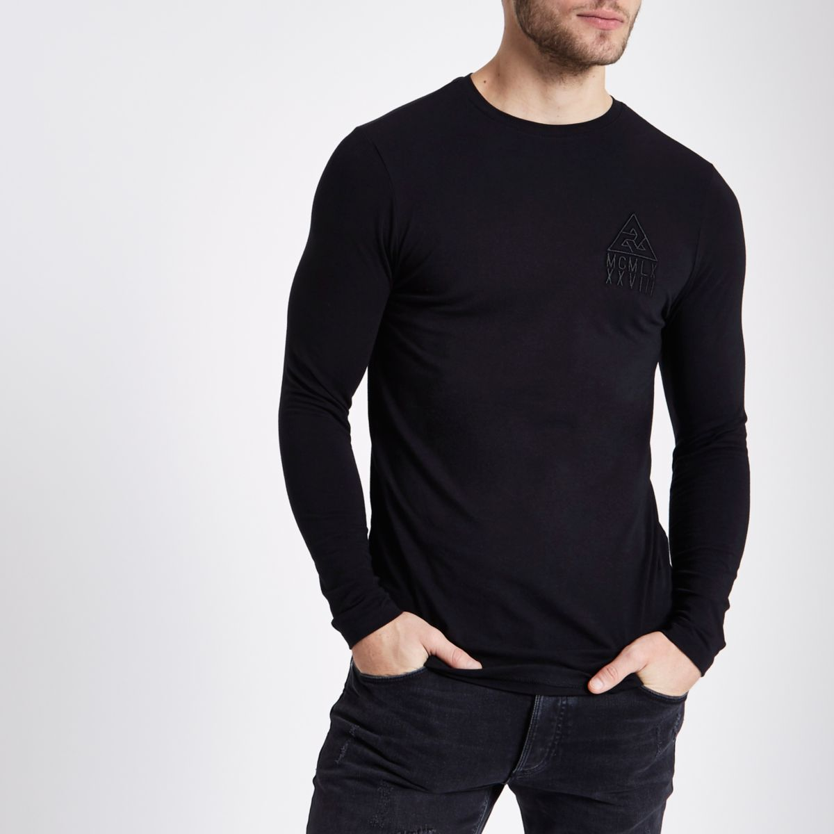 Black crew muscle fit long sleeve t shirt t shirts for Long sleeve fitted tee shirt