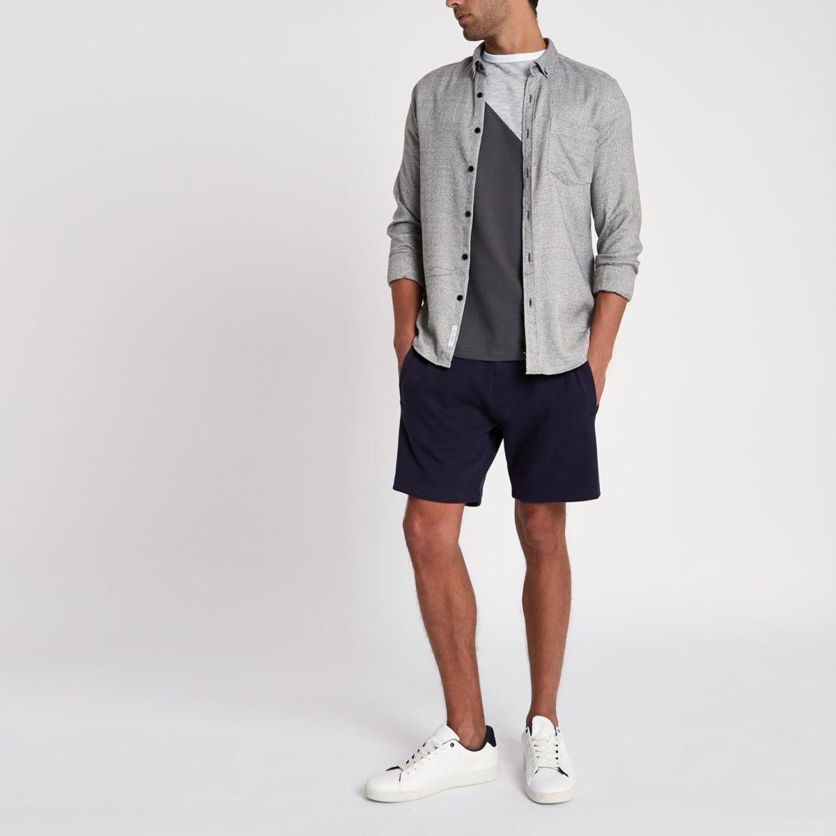 Navy pique jogger shorts