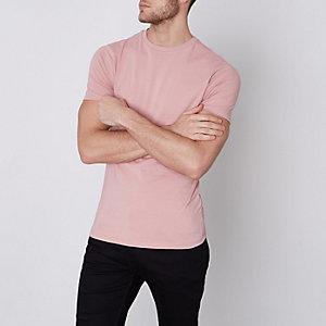 Roze aansluitend T-shirt met ronde hals