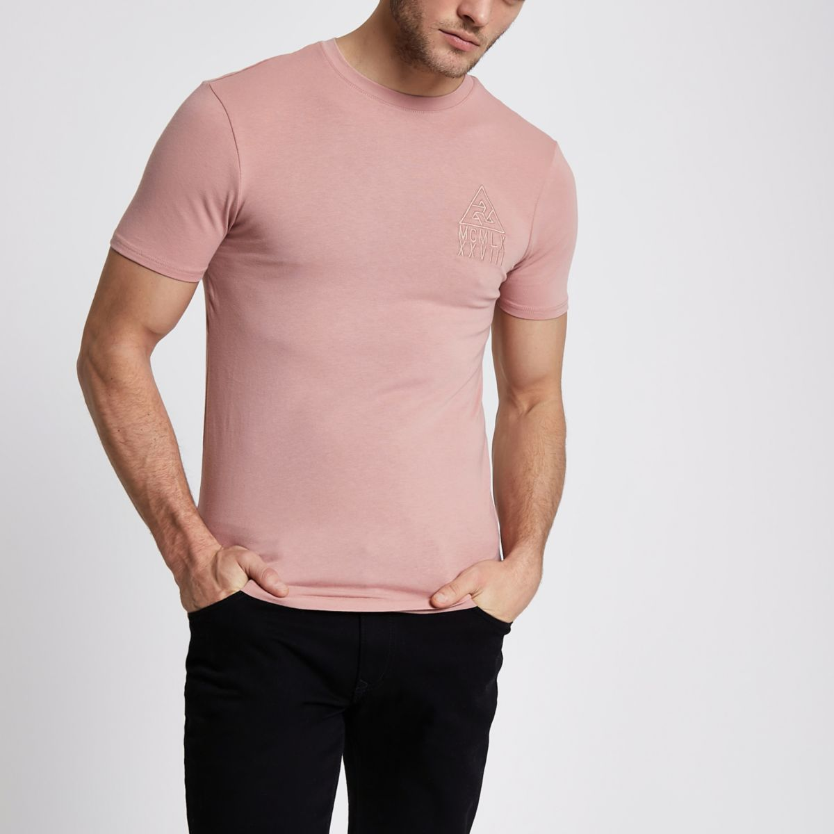 Pink chest embroidered muscle fit T-shirt