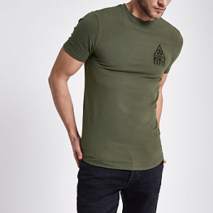 Dark green muscle fit chest print T-shirt
