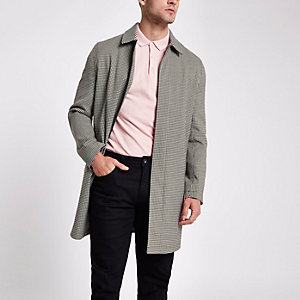 Brown check smart zip up jacket