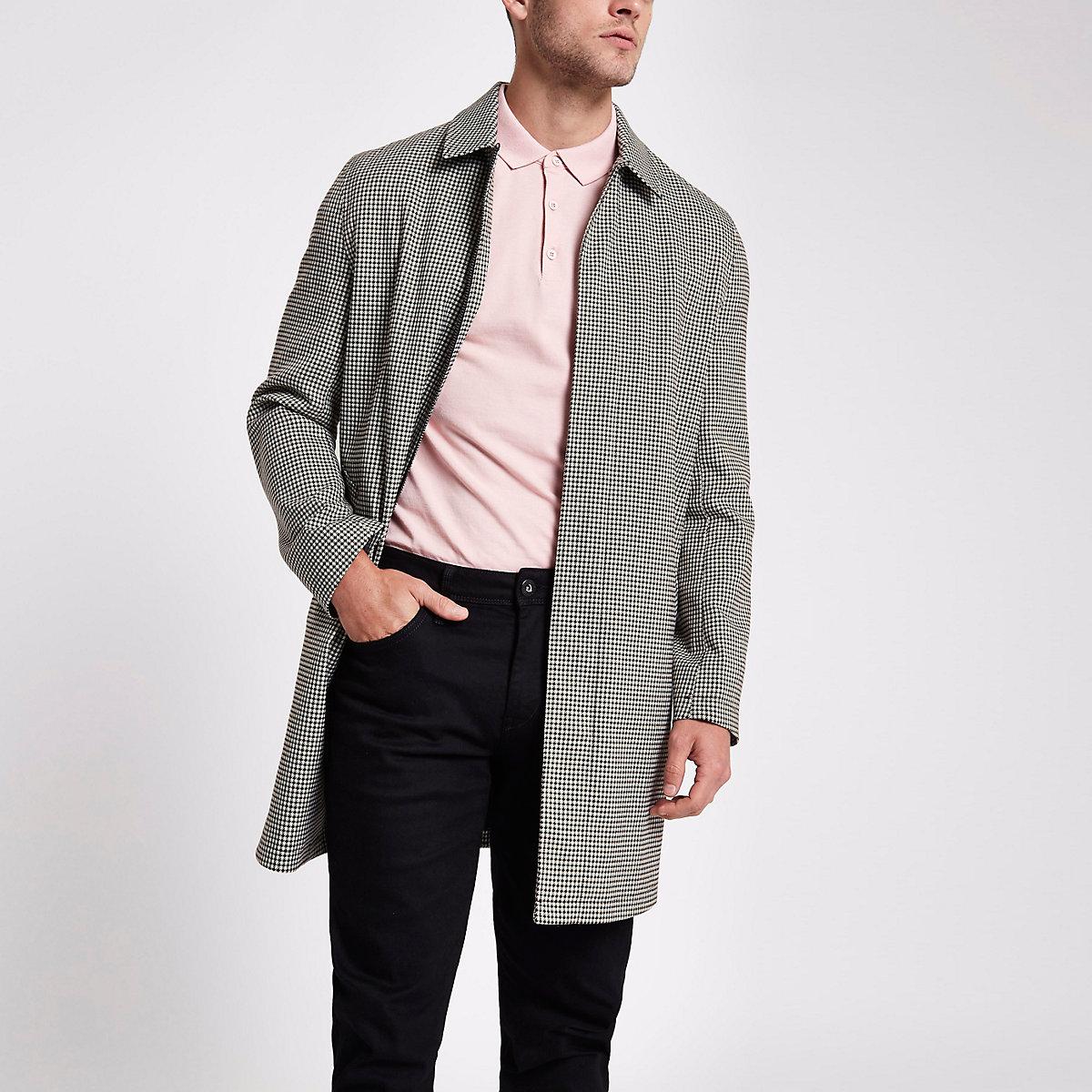 Brown check smart zip up jacket