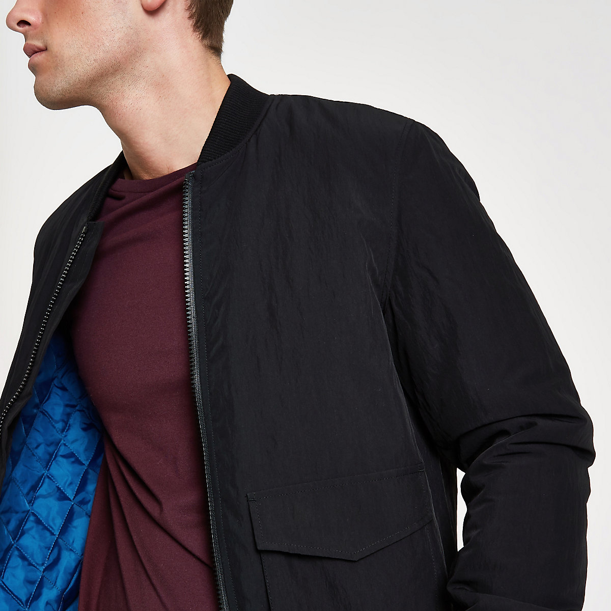 Black pocket front bomber jacket