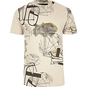 Grey Only & Sons abstract print T-shirt