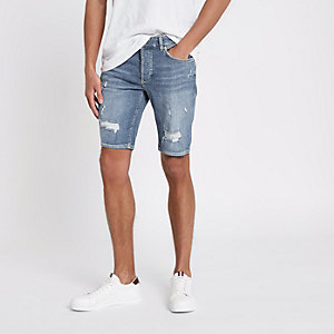 Sid - Blauwe ripped skinny-fit denim short