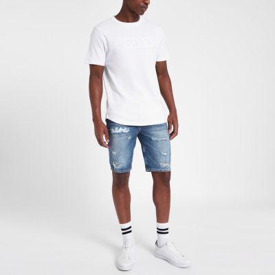 River Island Dylan - Short en jean slim bleu usé