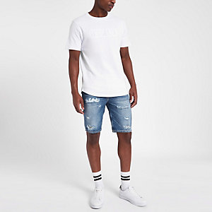 Dylan - Blauwe distressed slim-fit denim short